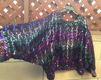 Colorful Vintage Flagg Etc California Disco Sequins Diana Ross Top with Dolman Sleeves and Wavelength-like Rainbow Sequins Pattern