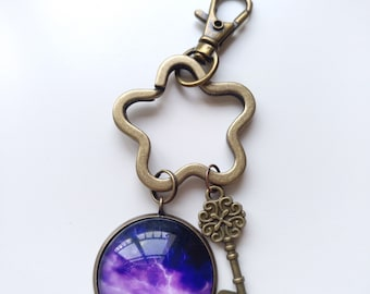 Flower-shaped keychain-space