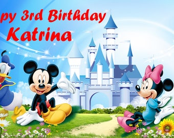 Personalized Mickey Mouse Backdrop - Disney custom birthday party decoration banner comic cartoon style castle outdoor - P0175