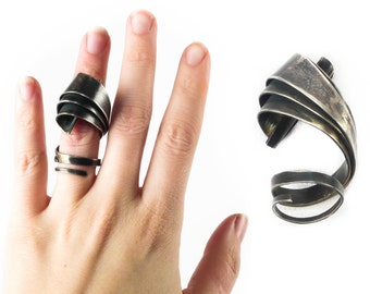 UNIQUE - Vintage STERLING Silver Ring // Statement Ring // Sculpture Ring // Modern Ring // Knuckle Ring // Danish Modern Ring - sz 7