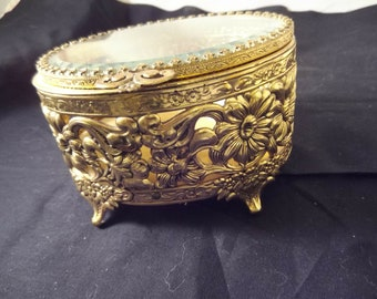 Oval Brass Jewelry Casket, Box, Beveled Glass Hinged Top, Unsigned, Yellow Velvet, Floral Theme