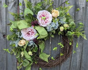 Spring Wreath, Hydrangea and Rose Wreath, Mother's Day Gift, Grapevine Wreath, Door Wreath, Front Door Wreath