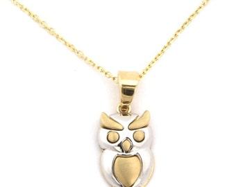 14k Yellow+White Gold Shiny+Satin Owl Pendant with Chain