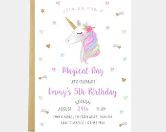 Unicorn Birthday Party Invitation, Magical Celebration, Girl Unicorn Party Invitation, Gold Glitter Unicorn Invitation, Printable or Printed