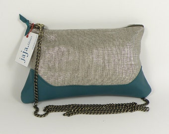 LOUISE  BAG shiny linen and petrol blue leather