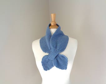 Bow Scarf, Steel Blue Gray, Super Soft Merino Wool, Ascot Scarf, Pull Through Knit Scarflette, Neck Warmer, Elegant Women's Scarf