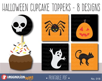 Halloween Cupcake Toppers Party Circles PRINTABLE / Party Printables / Cute Halloween Decorations / Halloween Cake Toppers / Pumpkin / BP018