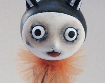 Devil Art Doll- Goth Halloween - Felted Pumpkin- MADE TO ORDER