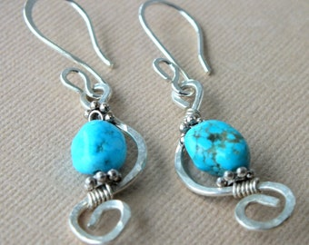 Turquoise Seahorse Sterling Silver Long Modern Earrings