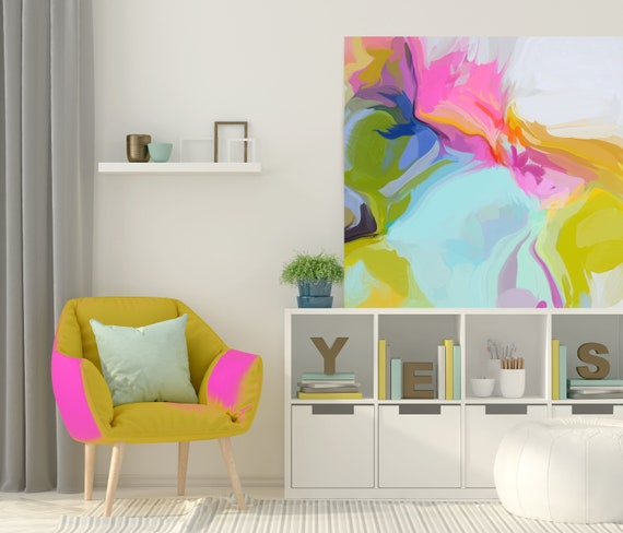 """Super Rhythm 1, Art Abstract Print on Canvas up to 50"""", Blue Pink White Yellow Green Abstract Canvas Art Print by Irena Orlov"""
