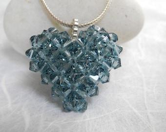 Indian Sapphire Swarovski Heart Necklace, Swarovski Heart Necklace, Heart Necklace, Swarovski Heart Pendant, Crystal Necklace