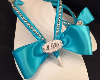 I Do Bridal Flip Flops, I Do Turquoise Flip Flops, Custom Flip Flops, Dancing Shoes, I Do Bridal Sandals, Bridal Shoes, Beach Wedding Shoes