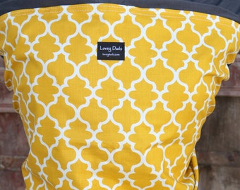 Baby Sling ORGANIC COTTON Baby Wrap-Yellow Medallions on Gray-Our Wraps Are One Size Fits All-DvD Included