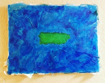 Mixed media painting Titled Small Island in a the Middle of a Large Ocean