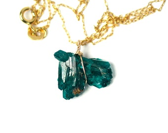 Dioptase jewelry etsy dioptase necklace druzy necklace raw green crystal necklace a wire wrapped dioptase on aloadofball Choice Image