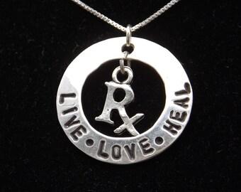 Pharmacist necklace, Pharmacist gift, Pharmacist graduation, RPh necklace, Pharmacist jewelry, Pharmacy student gift, Pharmacy Tech gift