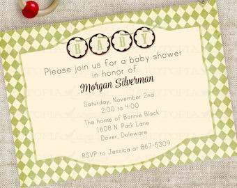 Banner-Baby-Dusche Einladung junge oder Mädchen Geschlecht Neutral grüne Rauten Harlekin Digital bedruckbare personalisiert