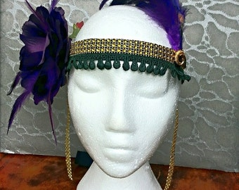 Purple Feathers Silk Rose Flower Headband Hair Band Black Ribbon n Green Applique w Gold Trim - Vintage Ram Goat Brooch Pin Accent Gatsby