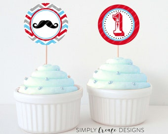 SALE Mustache Cupcake Toppers Little Man DIGITAL File 8.5x11 JPEG File Personalized