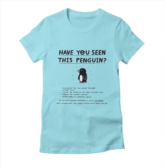 Have You Seen This Penguin? - Womens / Girls - T-shirt / Tee - Cancun / White / Light Yellow - Womens Apparel