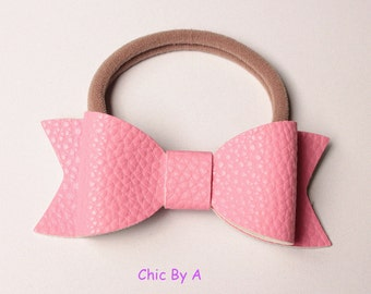 Leather,Hair ring accessories,SET OF 4 Bands,Leather Hair Bow,Lovely, Kids,Baby Girls Hair Accessories
