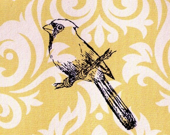 Bird Stamp: Cardinal on a Branch - Wood Mounted Rubber Stamp