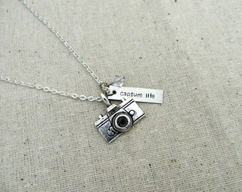 Capture Life Hand Stamped Necklace with Camera Charm and Custom Bead