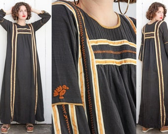 Vintage 70s Dress | 70s Josefa Black Cotton Maxi Dress with Ribbon Trim and Hand Stitching | Large L