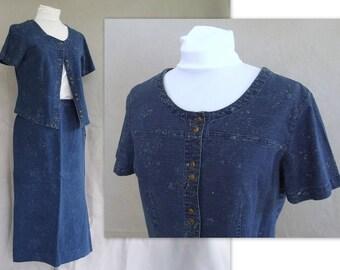 Vintage 1990's Linen / Cotton Denim Skirt and Top, Modern Size 8 - 10, Medium
