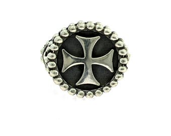 Ring 925 sterling silver Celtic Cross with punterellato hypoallergenic measure open plated white gold