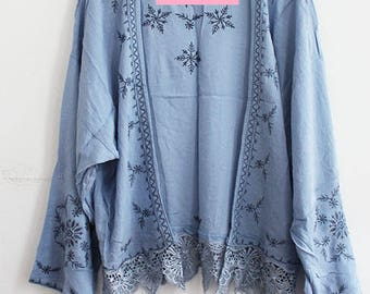 Blue Kimono with Embroidery and Lace Trim