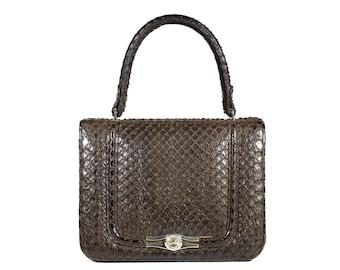 LOEWE Vintage Brown Snake Skin Handbag