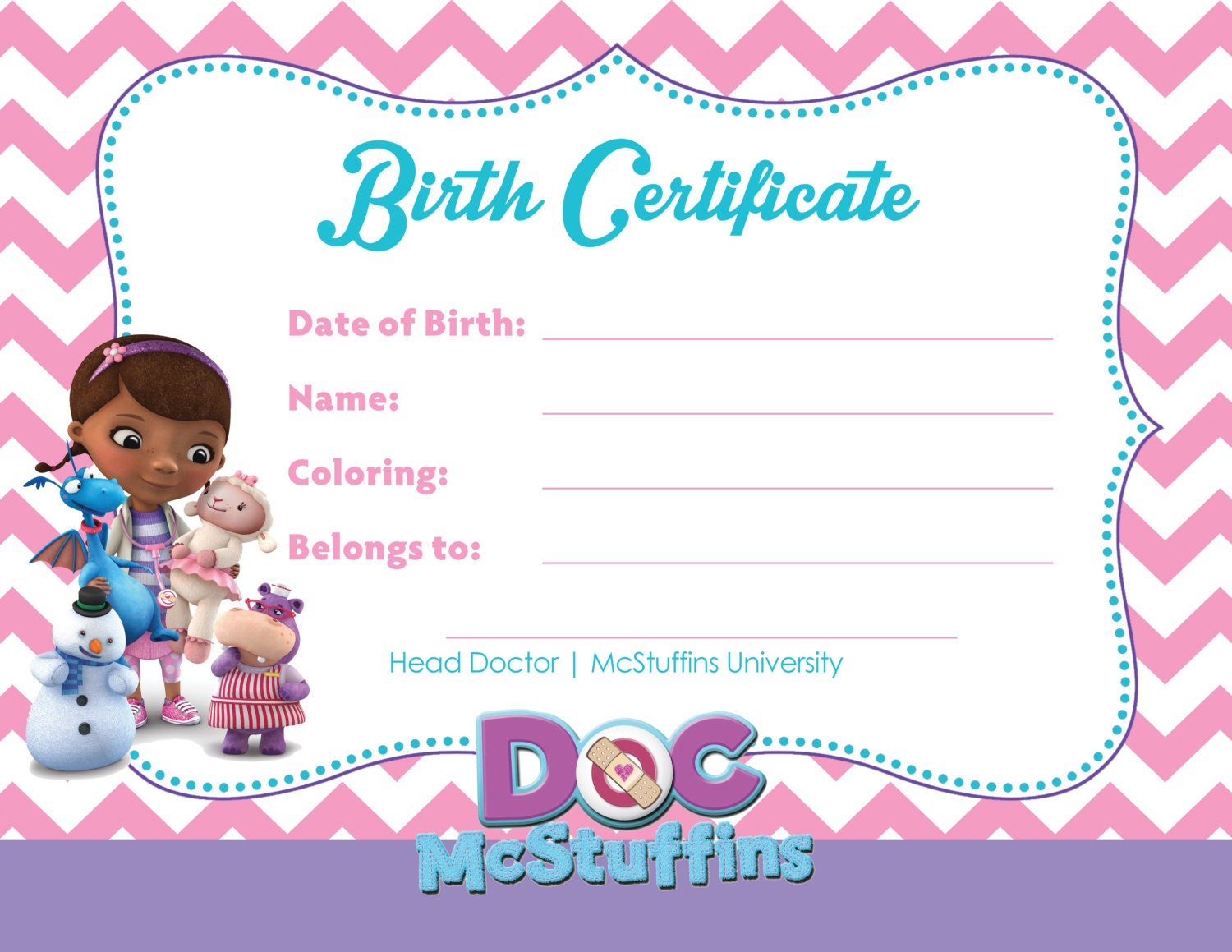 stuffed animal birth certificate  Doc McStuffins Party Birth Certificate for Toys Digital