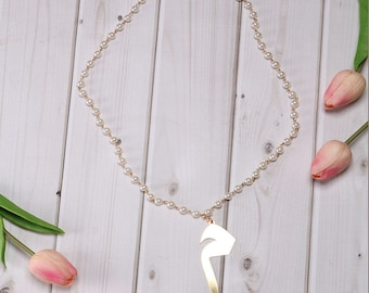 Arabic Letter Pearl Necklace ( Letter Meem in English M)