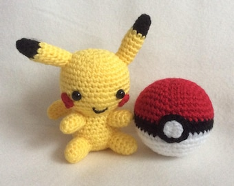 MADE TO ORDER: Crochet Pikachu with Pokeball Handmade Animal Wool Soft Toy Gift