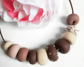 """""""Sweet like chocolate"""" polymer clay-necklace-chunky-handmade beads-pastel colors-glitter"""