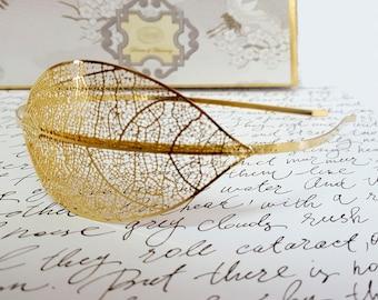 Wedding Gold Leaf Headpiece, Bridal Wedding Hair Piece, Leaf Bridal Headpiece, Boho Bridal Hair Accessory, Bohemian Bridal Hair Accessory