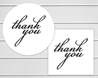 Thank You Labels, White Thank You Stickers, Printable Stickers (#146)