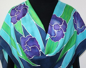Silk Scarf Hand Painted Silk Shawl Blue Green Purple Hand Dyed Silk Scarf PURPLE BOUQUET 2 Large14x72 Birthday Gift Scarf Gift-Wrapped Scarf