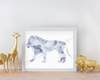 Blue Watercolor Lion Nursery Print