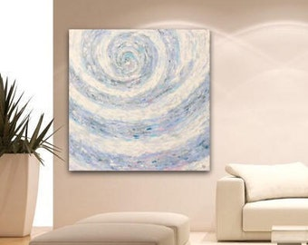 Large Abstract Painting on Canvas Original Wall Art Blue White Rose Modern Texture Art Acrylic Painting