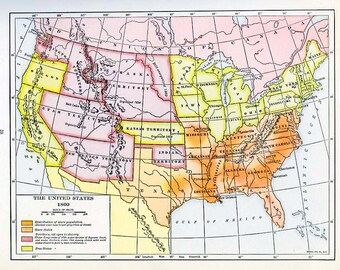 Print- Map of the United States, 1860
