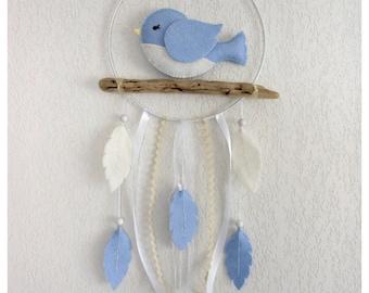 Baby Dream Catcher bird blue felt mobile and drift wood, Christmas gift baby or child, birth, baptism gift, birthday gift.