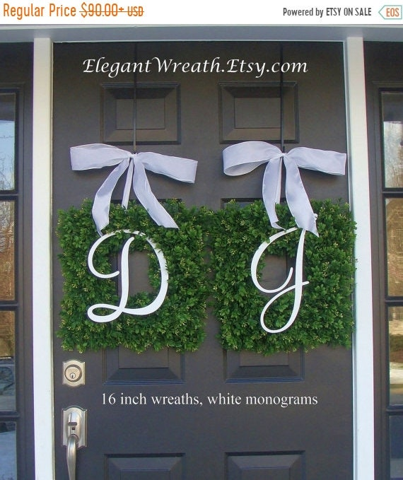 SUMMER WREATH SALE Monogram Boxwood Wreath, Monogram Wedding Wreath, Spring Wreath,  Housewarming Gift, Wedding Wreath, Summer Wreaths Thin