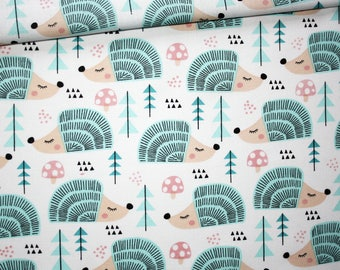 Hedgehog, 100% cotton fabric printed 50 x 160 cm, pastel turquoise hedgehogs, forest, tree