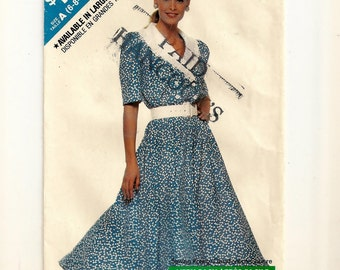"""A Blouson Bodice, Flared Skirt, Short Sleeve Dress Pattern for Women: Easy Sew - Sizes 6-8-10-12-14, Bust 30-1/2"""" to 36"""" • See & Sew 3274"""