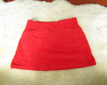 Red/Orange Corduroy Mini Skirt with Large Front Pockets Size 29