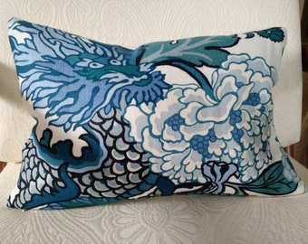 For Brooke CHIANG MAI DRAGON  China Blue Linen Pillow Cover