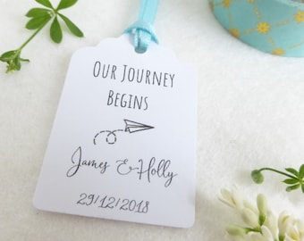 Wedding Favour Tags -Our Journey Begins - Gift Bag Tags - Travel Themed Wedding - Plane Wedding - Custom Tags