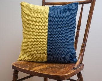 """Nautical Signal Flag """"K"""" Pillow Cover - knit in wool"""